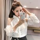 小心機襯衫 韓國新款春裝女士網紗拼接上衣襯衫女設計感小眾心機燈籠袖長袖