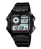 【台南 時代鐘錶 CASIO】卡西歐 台灣公司貨 AE-1200WH-1A 世界地圖耐久電力多功能電子錶