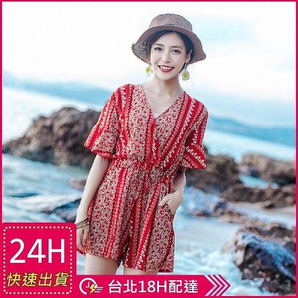 【現貨】梨卡 - 夏季波西米亞V領印花花朵縮腰寬鬆沙灘雪紡連身短褲褲裙C6221