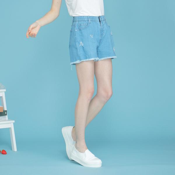 【中大尺碼】MIT牛仔刷破須邊短褲