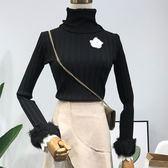 冬季新款時尚潮流簡約百搭高領韓版修身顯瘦針織上衣女