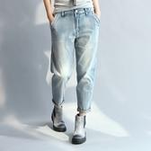 夏新款大尺碼女裝胖mm顯瘦韓版洗水純棉柔軟大彈力9分褲牛仔褲‧中大尺碼