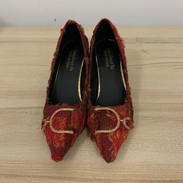 尖頭高跟鞋細跟性感工作鞋(23號/跟高7/121-6574)