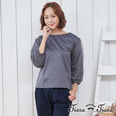 【Tiara Tiara】漢神獨有 都會風七分袖縮口平口上衣(藍/灰)