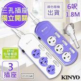 免運費【KINYO】6呎 3P三開三插鯨魚造型安全延長線(C133-6A)台灣製造