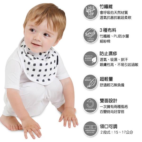 紐西蘭 Mum 2 Mum 雙面竹纖維棉機能口水巾圍兜-水彩方塊/星星 吃飯衣 口水衣 防水衣