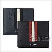 BALLY TONETT銀字LOGO牛皮紅白/黑白條紋5卡短夾(兩色)