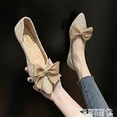 豆豆鞋 平底單鞋女2021新款豆豆鞋蝴蝶結網紅百搭尖頭仙女溫柔低跟工作鞋 曼慕