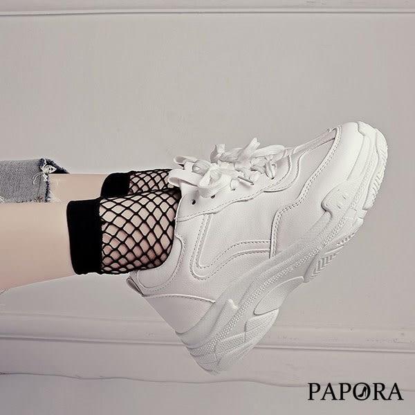 學生綁帶休閒老爹布鞋K5503白(偏小2碼)售完不補