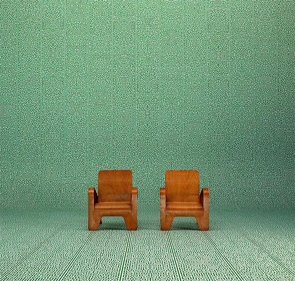 【進口牆紙】Archives Wallpaper by Studio Job【訂貨單位48.7cm×9m/卷】荷蘭 幾何? 綠色 JOB-02