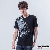 BIG TRAIN 繁櫻墨龍圓領T-男-黑色