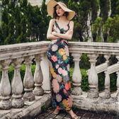 梨卡 - 波西米亞度假性感印花露背露腰沙灘裙洋裝連身裙連身長裙C6376