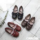 娃娃鞋 日系可愛圓頭娃娃鞋蕾絲花邊蝴蝶結茶會鞋軟妹小皮鞋洛麗塔女鞋 愛丫愛丫
