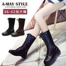 中筒靴-帥氣復古綁帶中筒靴(36-42加...