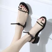 韓國綁帶粗跟中跟羅馬低跟夾趾百搭涼鞋露趾簡約交叉綁帶高跟鞋女 ☸mousika