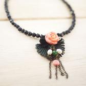 【粉紅堂 飾品】維多利亞風 玫瑰花朵項鍊