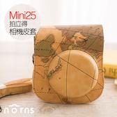 【Mini25拍立得相機皮套-地圖紋】Norns 附背帶 另有水晶殼 mini 25相機包 聖誕節禮物