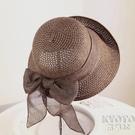 草帽女夏天防曬大檐百搭太陽帽遮陽沙灘帽子女海邊禮帽折疊 快速出貨