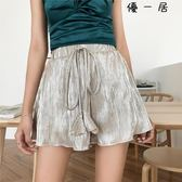 短褲女夏休閒寬鬆闊腿褲裙木耳邊Y-4012
