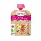 【佳兒園婦幼館】綠動會 法國BABYBIO 有機蘋果草莓果纖果泥(90g)