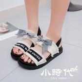 厚底涼鞋 中跟松糕跟絨面蝴蝶結復古露趾學生鞋