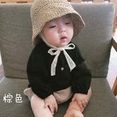 ins爆款夏款兒童草帽韓國寶寶0-2歲遮陽防曬帽蕾絲繫帶帽子親子 卡布奇诺