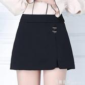 褲裙 裙褲女夏季休閒韓版寬鬆2020新款春秋款高腰黑色打底短褲女外穿潮