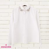 【SHOWCASE】俏麗縫鑽領氣質款OL襯衫(白)