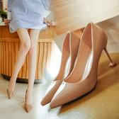 百搭女鞋子淺口尖頭性感細跟高跟鞋漆皮貓跟單鞋女