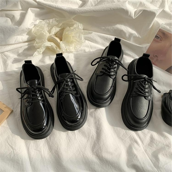 黑色繫帶2021薄新款夏季單鞋平底小皮鞋女圓頭韓版百搭復古英倫風 韓國時尚 618