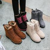 靴子 2017秋冬季雪地靴女馬丁短靴短筒平底棉鞋學生女鞋女靴子棉靴瑪麗蓮安