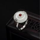戒指 銀鑲嵌天然玉平安扣天然白玉懷古指環女款開口戒指