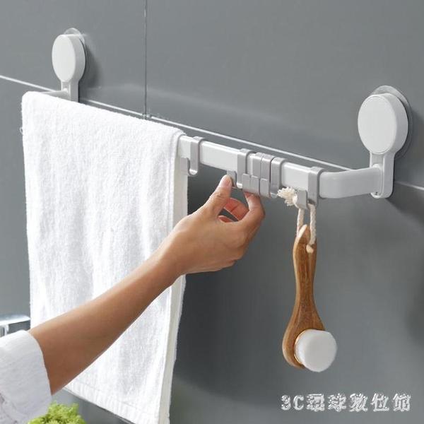 毛巾架 吸盤式免打孔掛的架子單桿家用浴室吸壁衛生間廚房晾抹布桿LB19288【3C環球數位館】