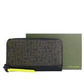 【南紡購物中心】LONGCHAMP LE PLIAGE LGP系列滿版字母拉鍊長夾(黑X卡其綠)