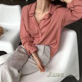 韓國慵懶簡約中長款寬鬆純色長袖襯衫女【米蘭街頭】