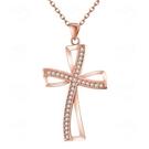 項鍊 玫瑰金純銀 鑲鑽吊墜-十字架鑲鑽生...