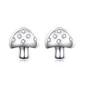 耳環 925純銀鑲鑽銀飾-可愛蘑菇生日情人節禮物女飾品73dy53【時尚巴黎】