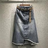 [S-5XL] 新品A字中長款開叉牛仔裙女大碼包臀半身裙 - 風尚3C