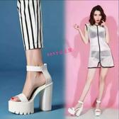 高跟鞋 粗跟鞋女夏2020韓版新款超高跟鞋很多恨天高14cm防水臺15cm涼鞋潮 小宅女