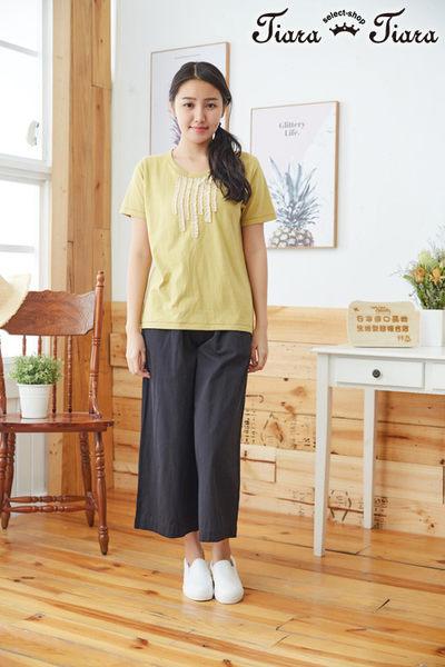 【Tiara Tiara】百貨同步aw 抓皺條紋圓領短袖上衣(綠/黃)
