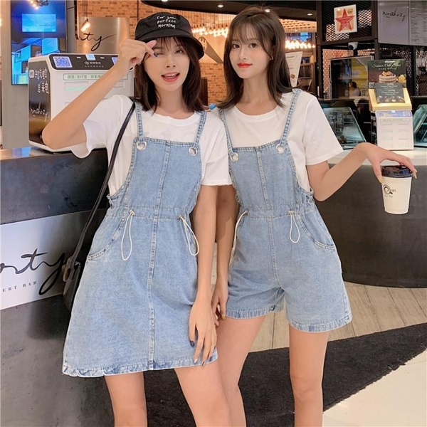 2020春夏新韓版大碼胖mm揹帶牛仔褲女寬鬆顯瘦闊腿連身吊帶裙短裙 Cocoa