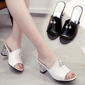 外穿涼拖鞋女夏季新款粗跟高跟魚嘴涼鞋正韓百搭中跟一字拖鞋 两色35-40