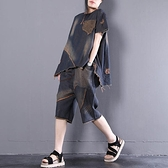 文藝風復古牛仔單寧套裝(上衣+褲子)-大尺碼 獨具衣格 J3674