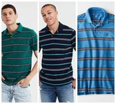 (BJGO) AMERICAN EAGLE_男裝_AE STRIPED PIQUE POLO SHIRT 經典老鷹條紋POLO衫