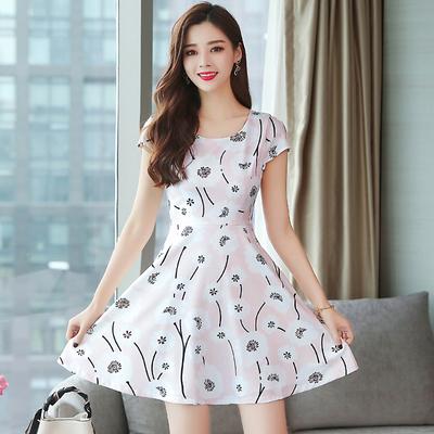 洋裝 輕熟風 淑女裙 連身裙女夏裝韓版時尚 碎花雪紡修身收腰氣質中長款裙子T105依佳衣