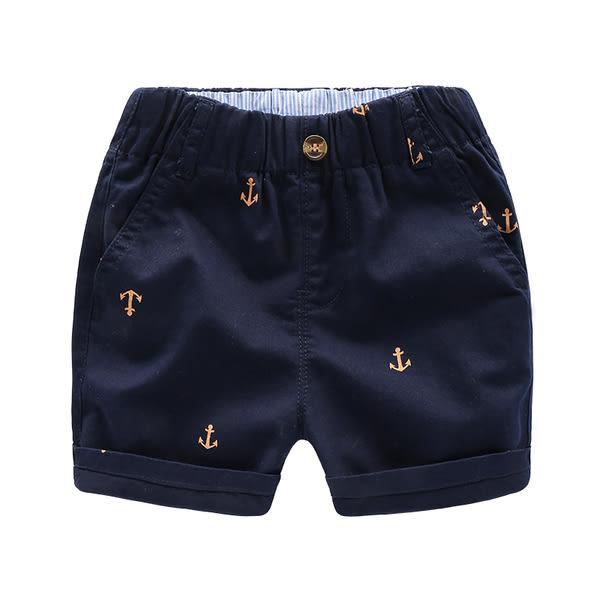 男Baby男童純棉短褲海錨印花深藍色五分褲現貨歐美品質