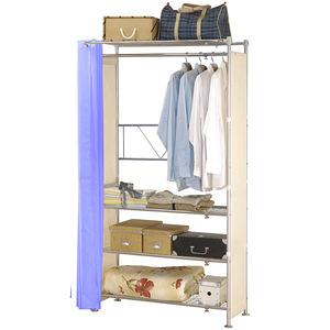 巴塞隆納─AG-04四層層板伸縮衣櫥V型設計強化結構前布簾水藍色不織布