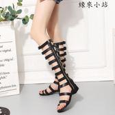 女鞋新品粗跟黑色靴子鏤空涼鞋筒