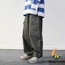 日系復古直筒工裝褲女休閒寬鬆素色百搭情侶束腳褲中性【創世紀生活館】