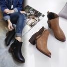 高跟短靴-復古英倫風拼接設計女馬丁靴2色73is8【時尚巴黎】